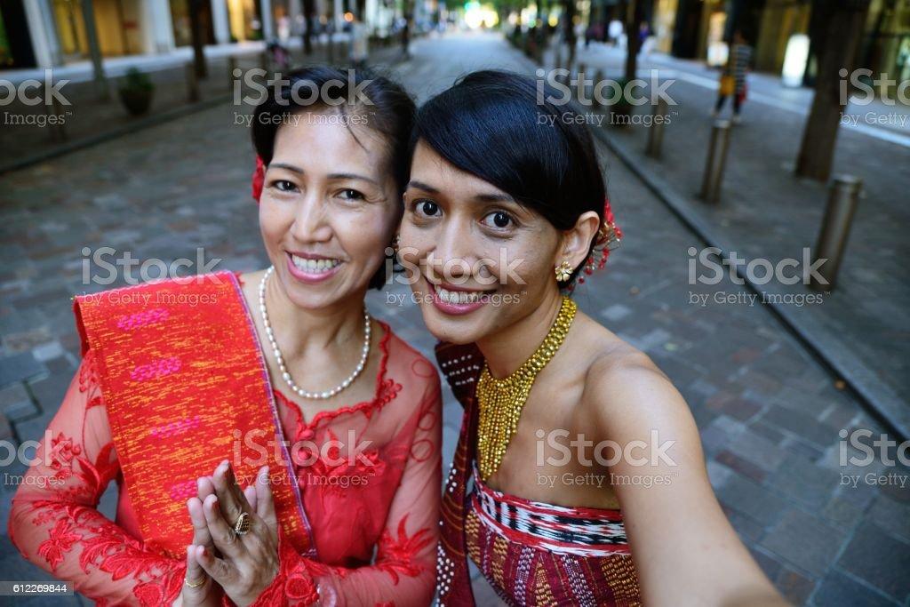 Mother-daughter selfie stock photo