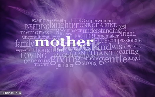 istock Mothering Sunday MOTHER Word Cloud purple feathered background 1132942716