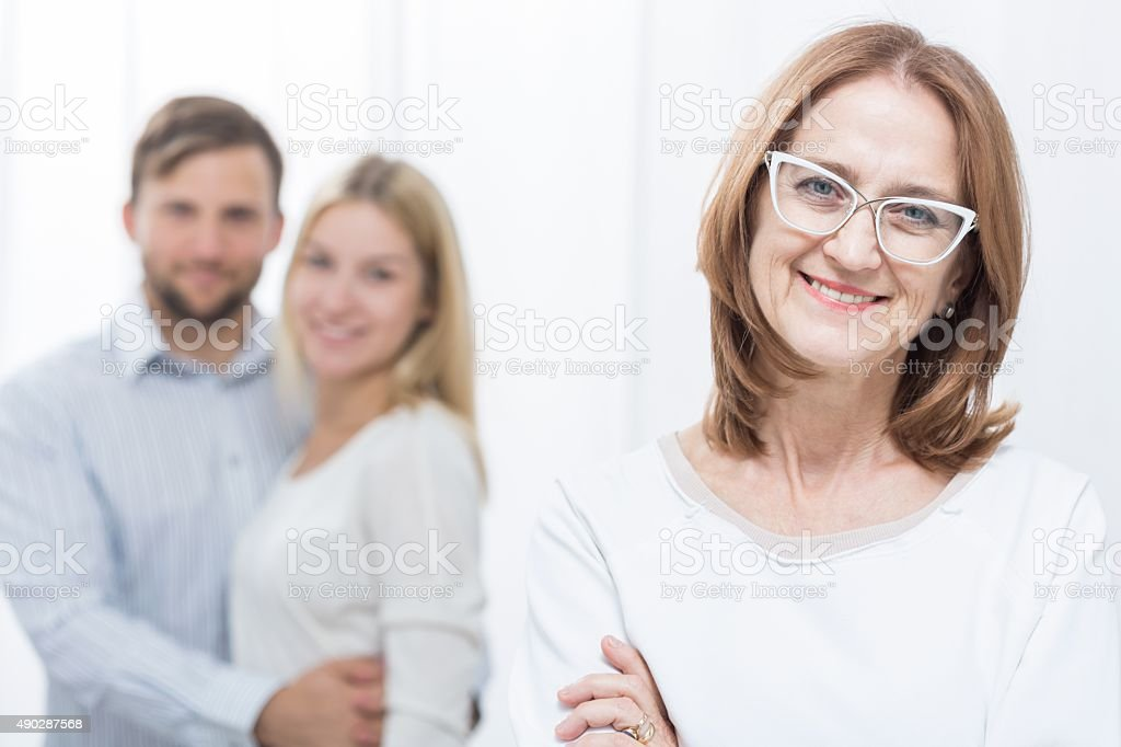 Mother-in-law and family stock photo