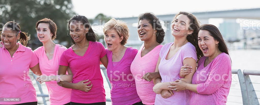 Mothers and daughters for breast cancer awareness stock photo