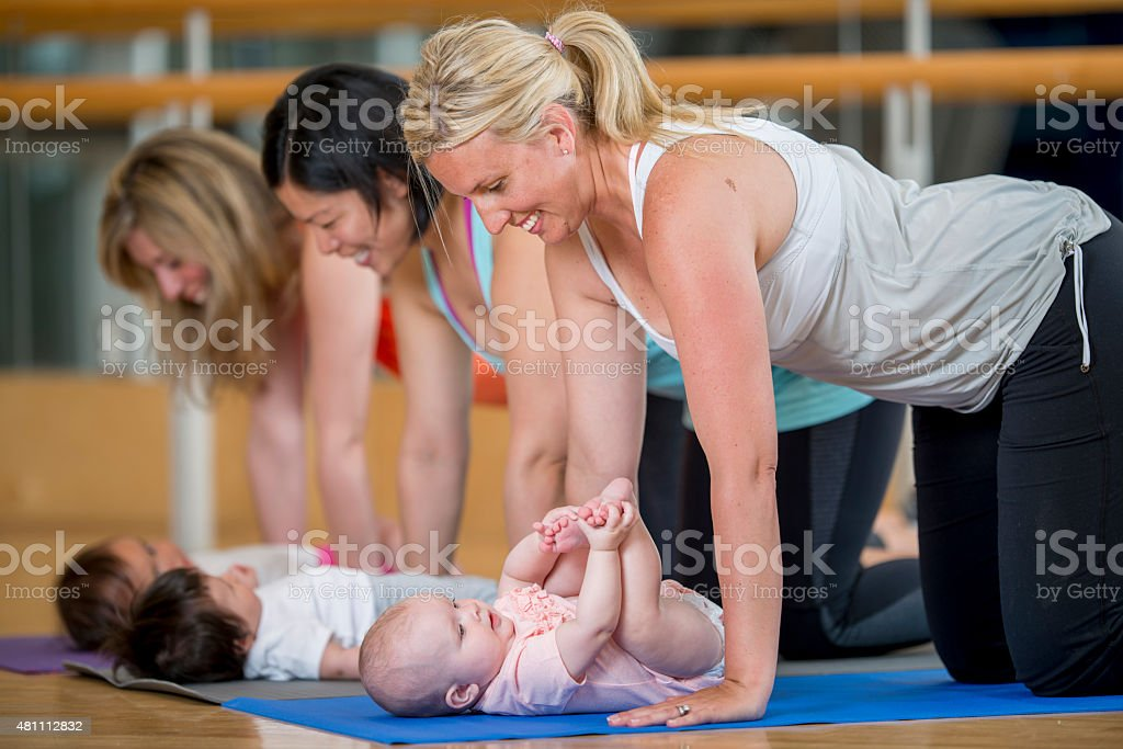Mothers and their Babies at Excercise Class stock photo