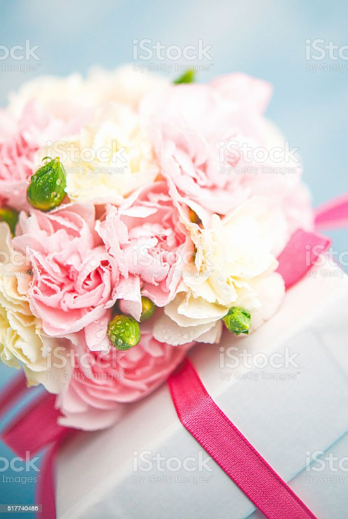 Mother\'s Day arrangement with pastel flower bouquet and gift