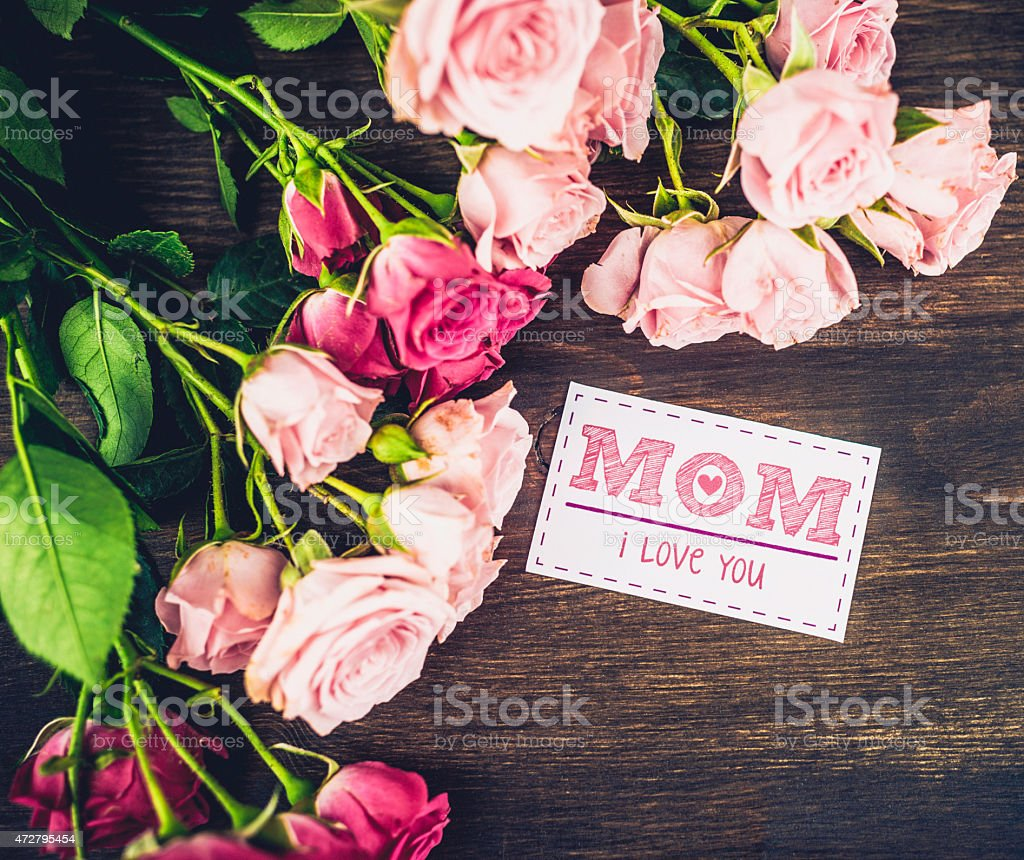 Mothers Day Background With Pink Roses And Greeting Card Message