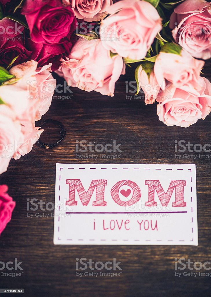 Mothers day background with pink roses and greeting card message mothers day background with pink roses and greeting card message royalty free stock photo m4hsunfo