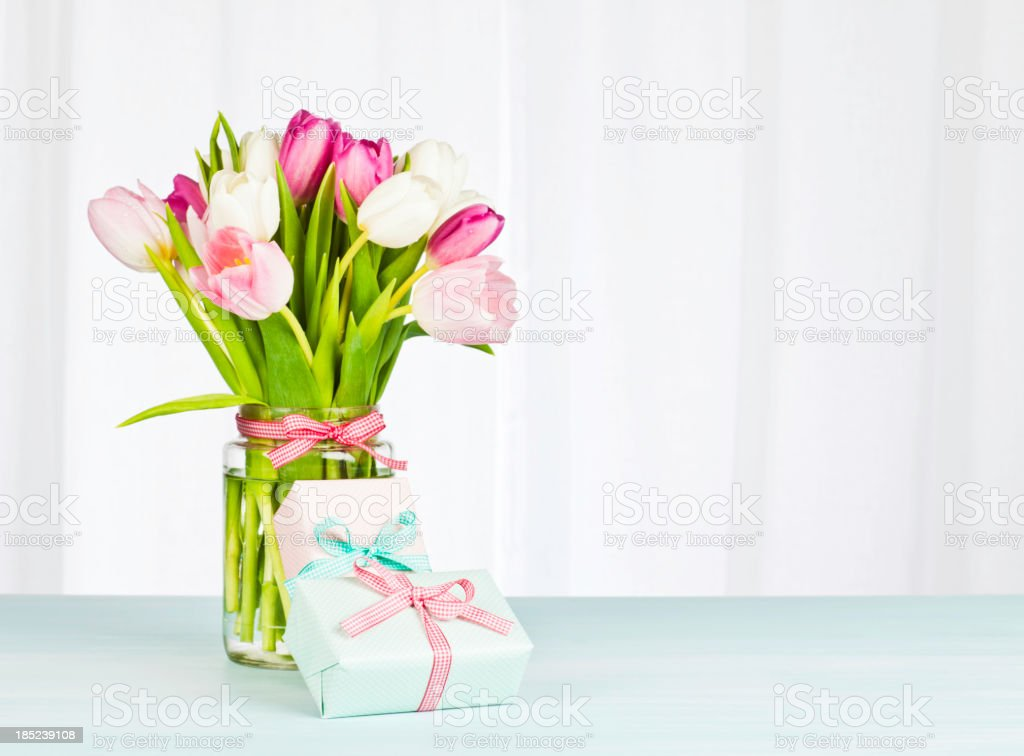 Mother's Day Bouquet and Gifts - Horizontal royalty-free stock photo
