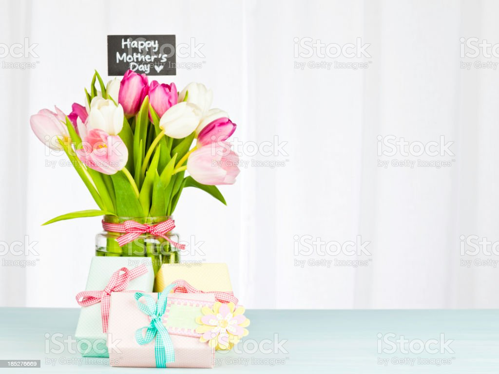 Mother's Day Bouquet and Gifts royalty-free stock photo