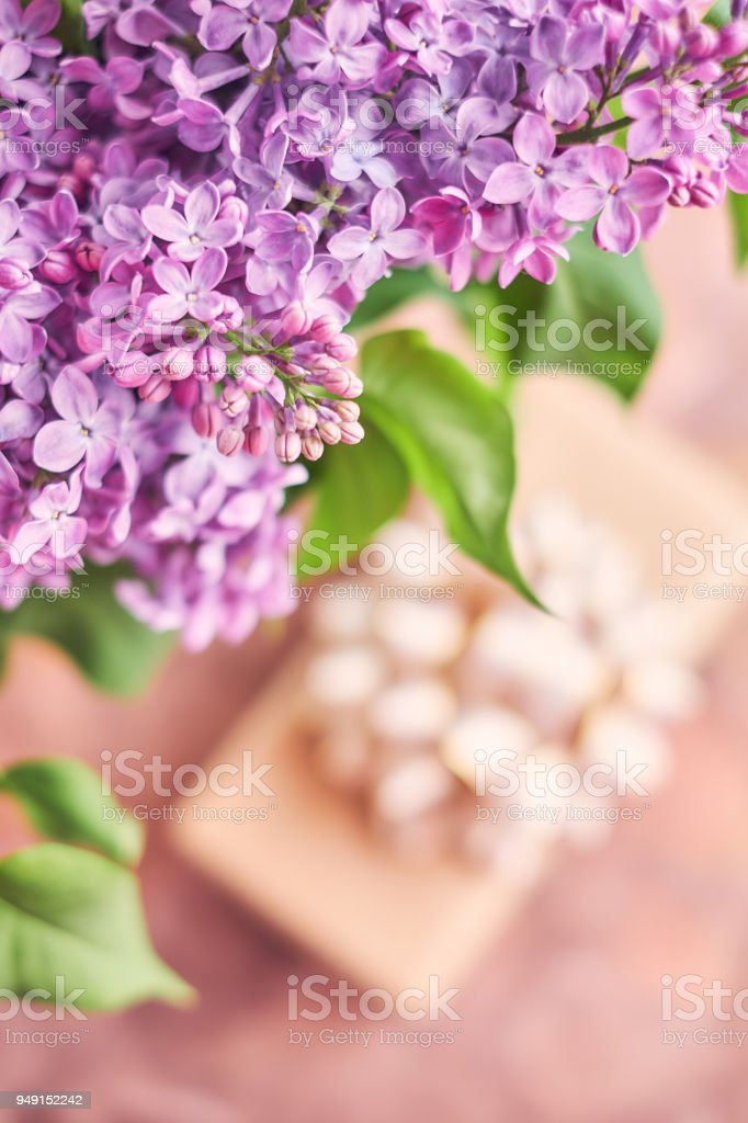Mother\'s day - Bouquet of lilac flowers and a gift box
