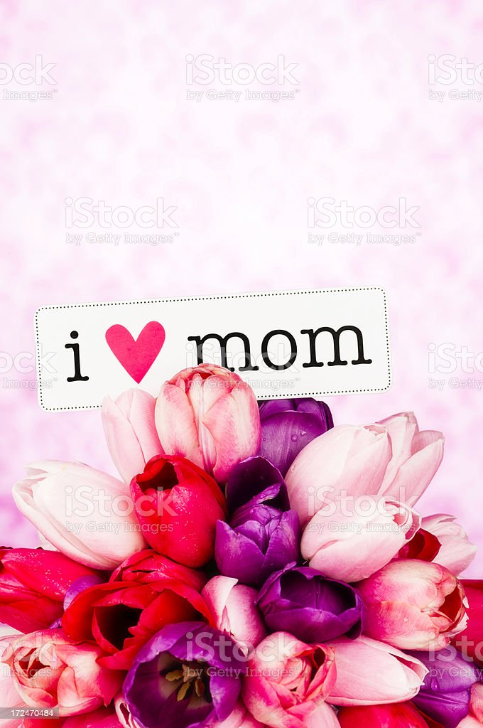 Mother's Day Bouquet with Message royalty-free stock photo
