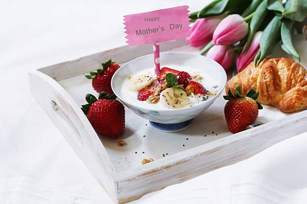 mothers day breakfast or brunch - happy mothers day type stock photos and pictures