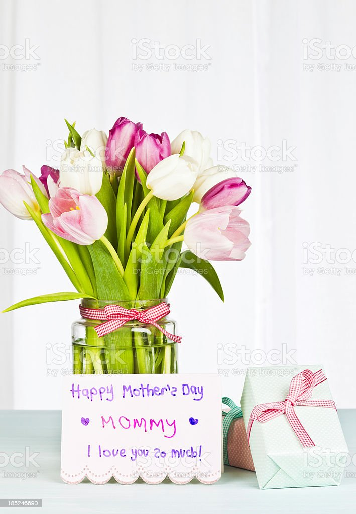 Mother's Day Card and Gift from Child royalty-free stock photo