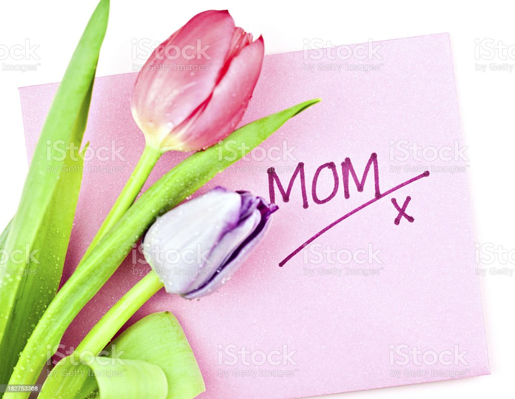 Mother's Day Card and Tulips royalty-free stock photo