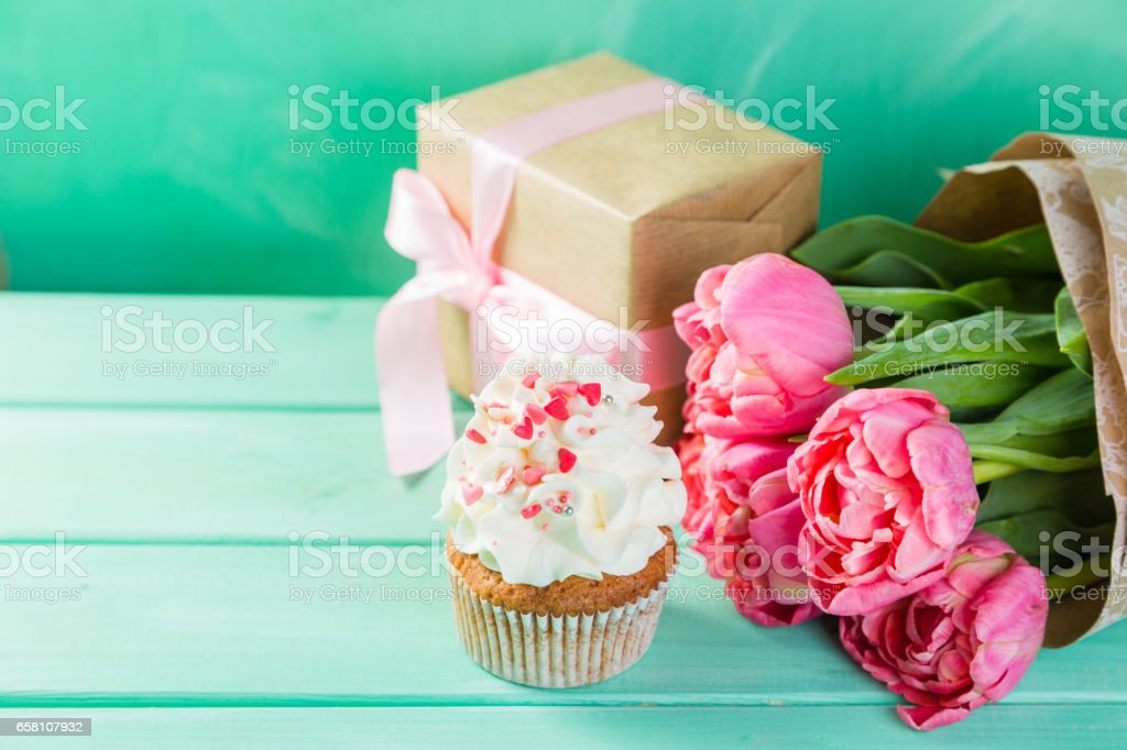 Mother's day card with coffee, present royalty-free stock photo