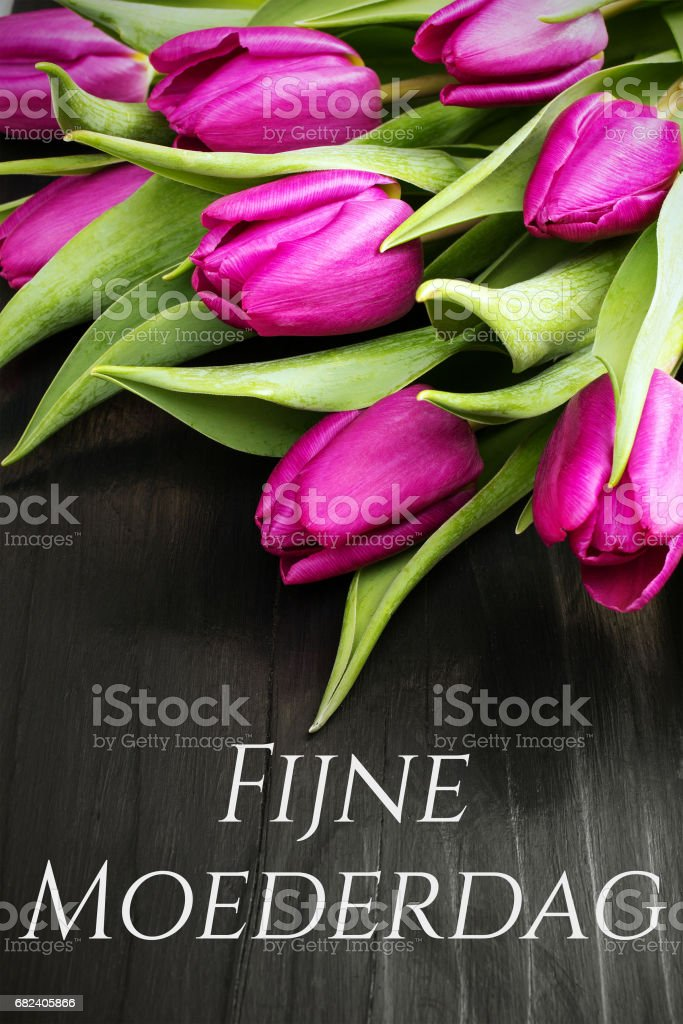 Mother's day card  with Dutch words: Happy Mother's day, and tulip bouquet on black wooden background royalty-free stock photo