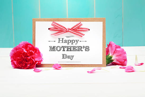 mothers day card with pink carnations - happy mothers day type stock photos and pictures