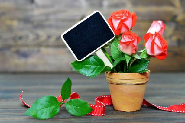 Carte fête des mères avec roses rouges et blanc tableau noir - Photo