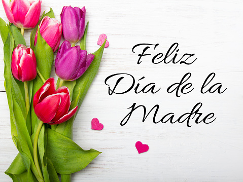 Mother's day card with Spanish words: Happy Mother's day, and  blue flowers frame on white wooden background