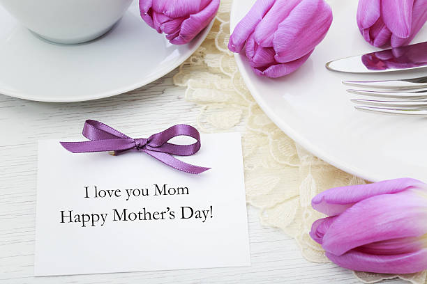 mothers day card with table setting - happy mothers day type stock photos and pictures