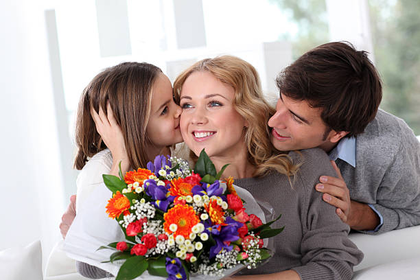 Mother's day celebration in family stock photo