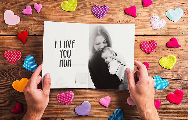 mothers day composition, black-and-white photo. studio shot, woo - i love you stock photos and pictures