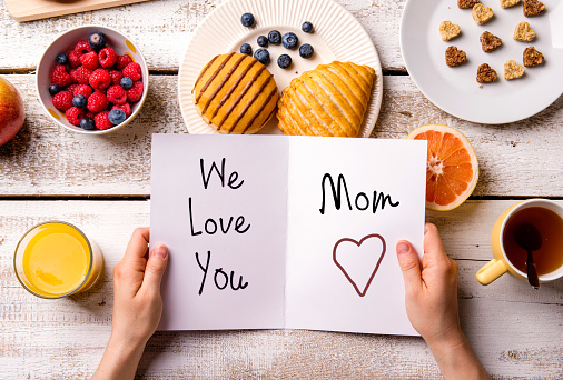Mothers Day Composition Greeting Card And Breakfast Meal Stock Photo - Download Image Now