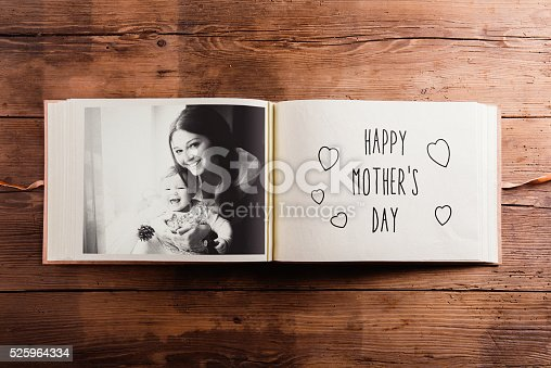 istock Mothers day composition. Photo album, black-and-white picture. W 525964334
