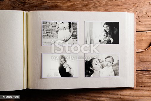 istock Mothers day composition. Photo album, black-and-white pictures. 525959636
