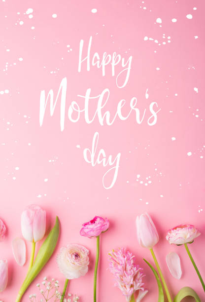 mothers day composition.text and flowers. studio shot. - happy mothers day type stock photos and pictures