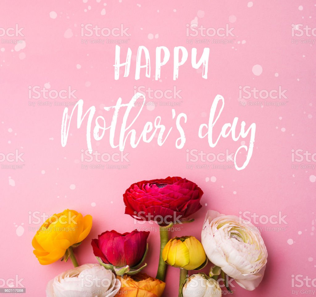 Mothers day composition.Text and flowers. Studio shot. stock photo