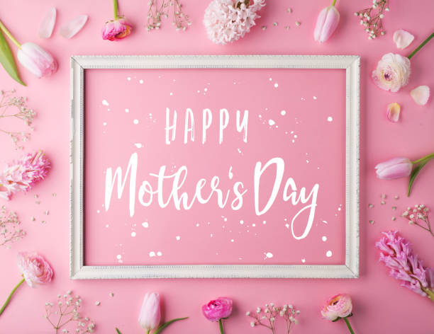 mothers day composition.text and flowers. studio shot. - mothers day stock pictures, royalty-free photos & images