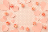 istock Mothers day floral border composition. Love Day background with coral or pink flowers rose shape heart flat lay. Valentines day, 8 March Women day. Top view 1097930040