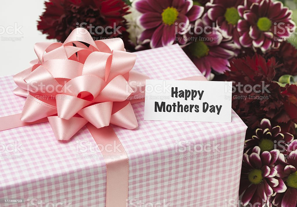 Mothers day flowers and present royalty-free stock photo