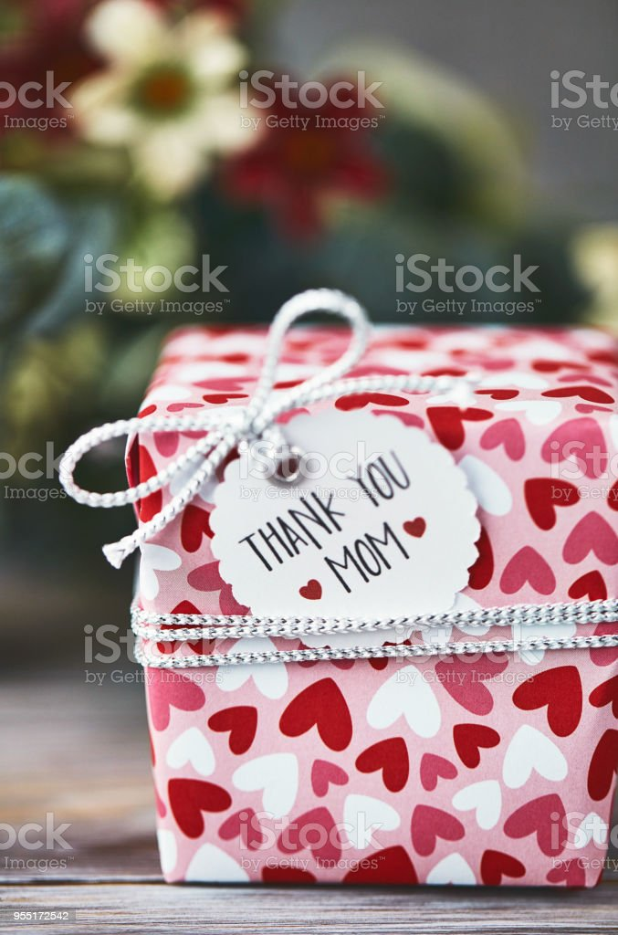 Mothers Day Gift In Organic Type Setting With Thank You Message Royalty Free Stock Photo