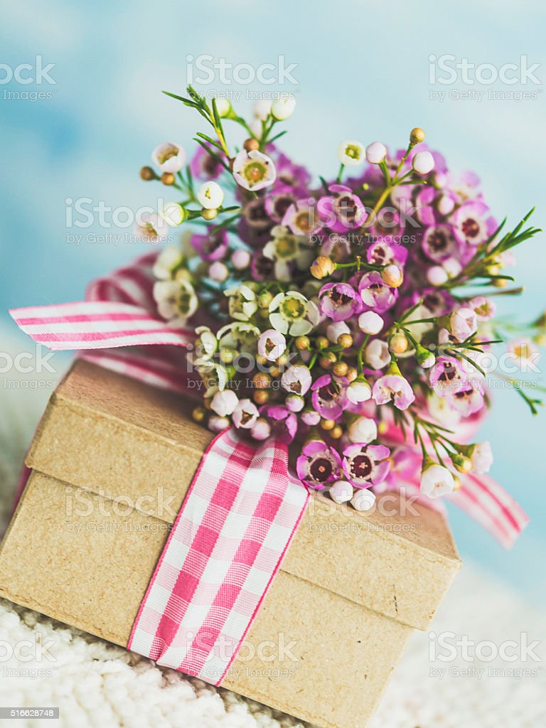Mothers Day Gift With Beautiful Flower Bouquet Stock Photo More