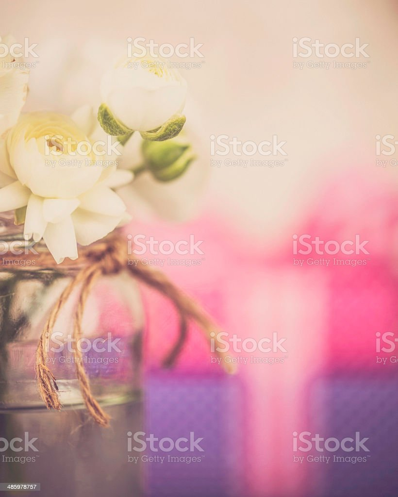 Mother's Day Gifts and Rustic Ranunculus Arrangement royalty-free stock photo