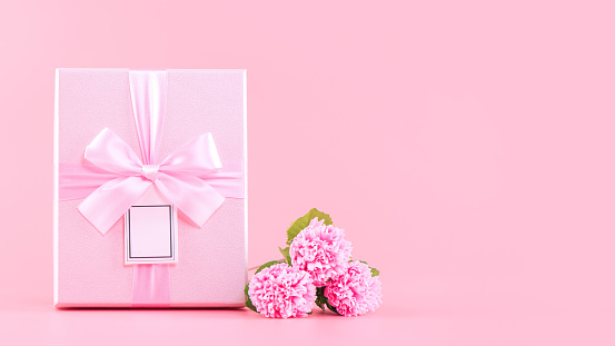 Mother's Day holiday gift design concept, pink carnation flower bouquet with wrapped box isolated on light pink background
