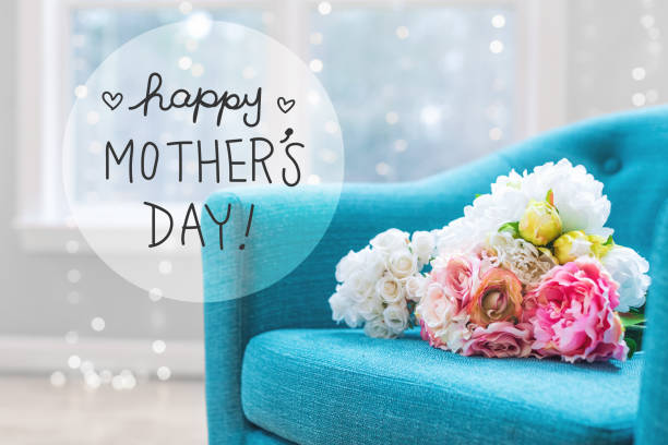 mother's day message with flower bouquets with chair - mothers day stock pictures, royalty-free photos & images
