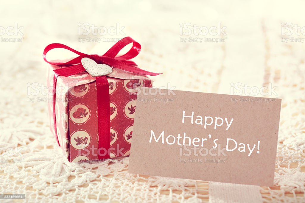 Mothers day message with hand crafted present box stock photo