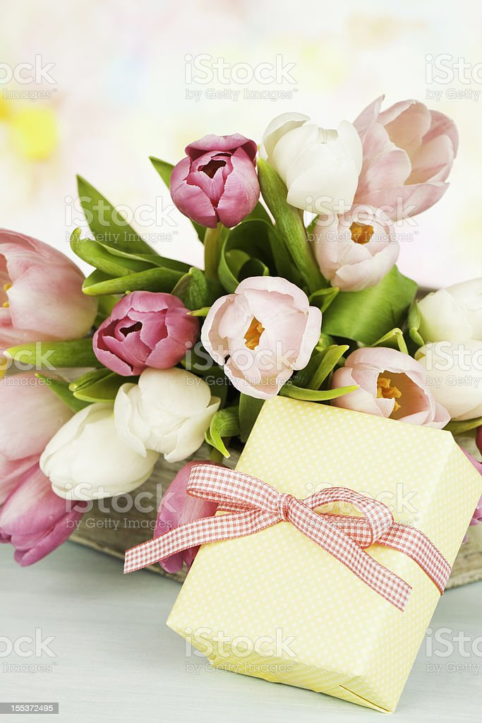 Mother's Day or Birthday Bouquet and Gift royalty-free stock photo