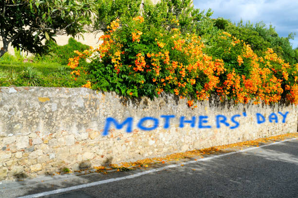 Mothers' Day quotes on a wall stock photo