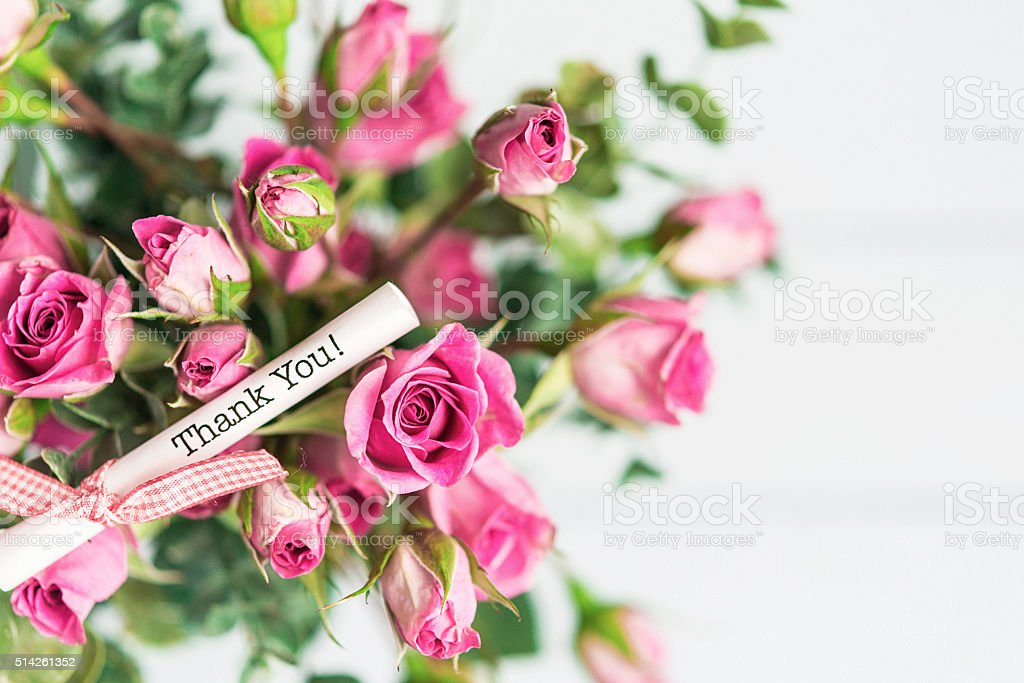 Mothers Day Rose Bouquet With Thank You Message Stock Photo & More ...