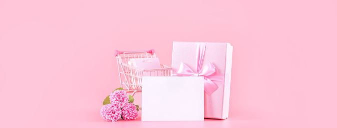 Mother's Day, Valentine's Day holiday gift design concept, pink carnation flower bouquet with wrapped box isolated on light pink background, copy space.