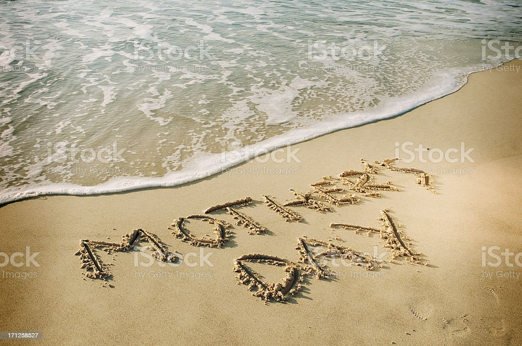 Mothers Day Written on the Sand. royalty-free stock photo