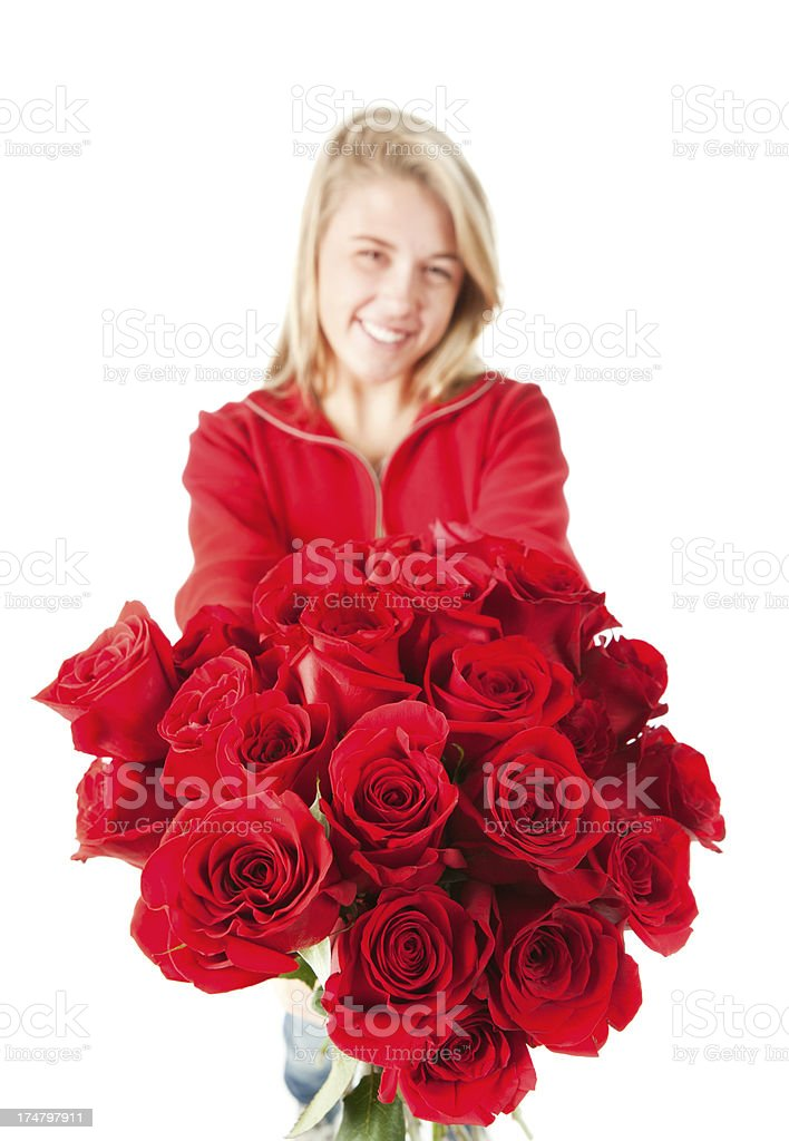 Mother's Day Young Girl Offering Roses royalty-free stock photo