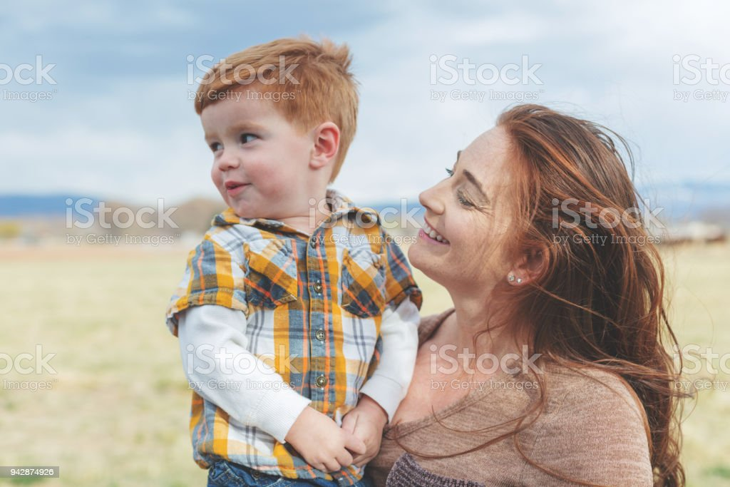 Mother's Day - Young Mother and Sons Outdoors Late Evening In Western Colorado stock photo