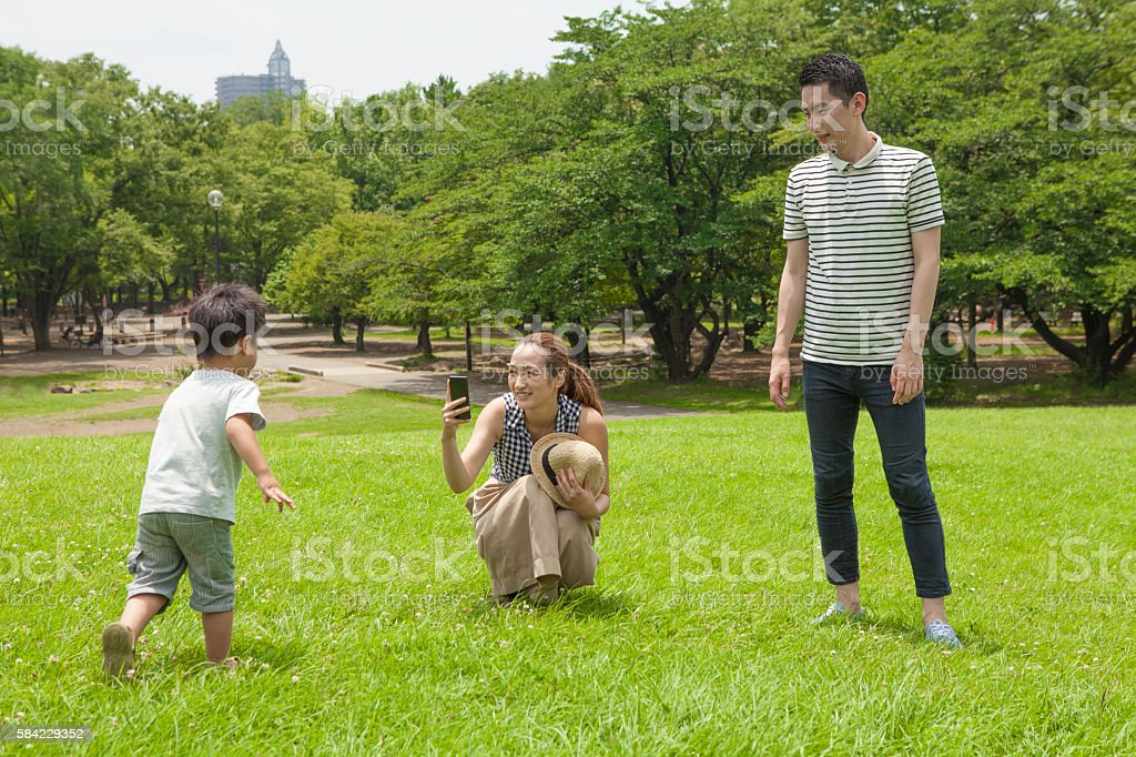 Mothers who have taken run to come of children photos stock photo