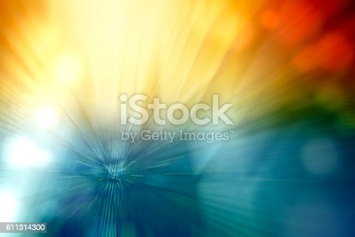 istock Motion Blur Abstract Background Blue Red Yellow Turquoise with Bokeh 611314300