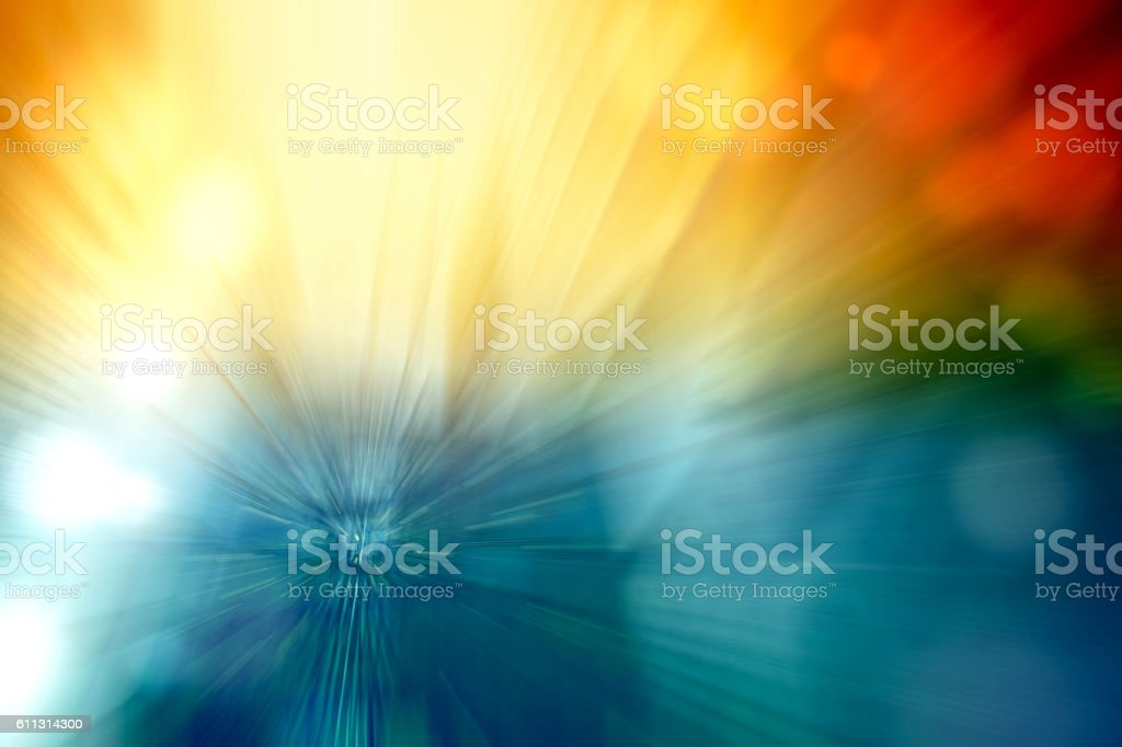 Motion Blur Abstract Background Blue Red Yellow Turquoise with Bokeh - foto de acervo