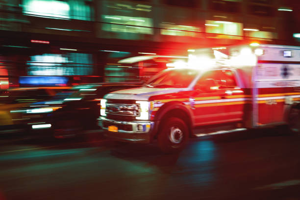 motion blur ambulance united states - ambulance stock photos and pictures