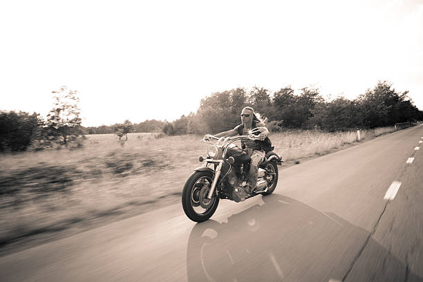 Motion Blur Biker On Countryside stock photo