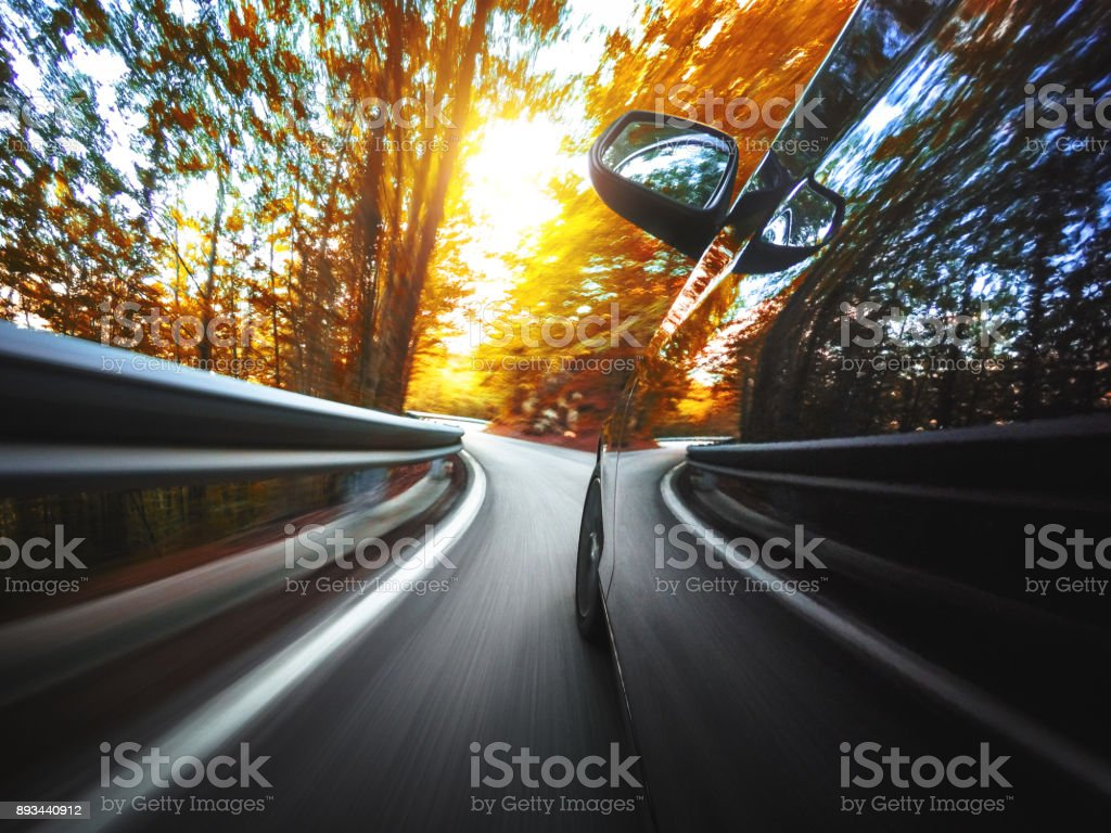 motion blur car on the road stock photo